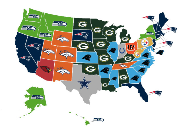 Map Shows Which Nfl Team Each State Thinks Will Win This