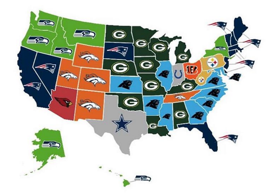 Map Shows Which NFL Team Each State Thinks Will Win This Years - Map of us by team rooting for superbowl