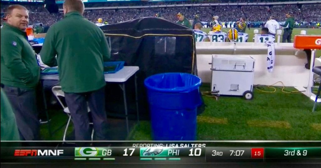 Aaron Rodgers Enters Mysterious Tent On Sideline, ReAppears Minutes