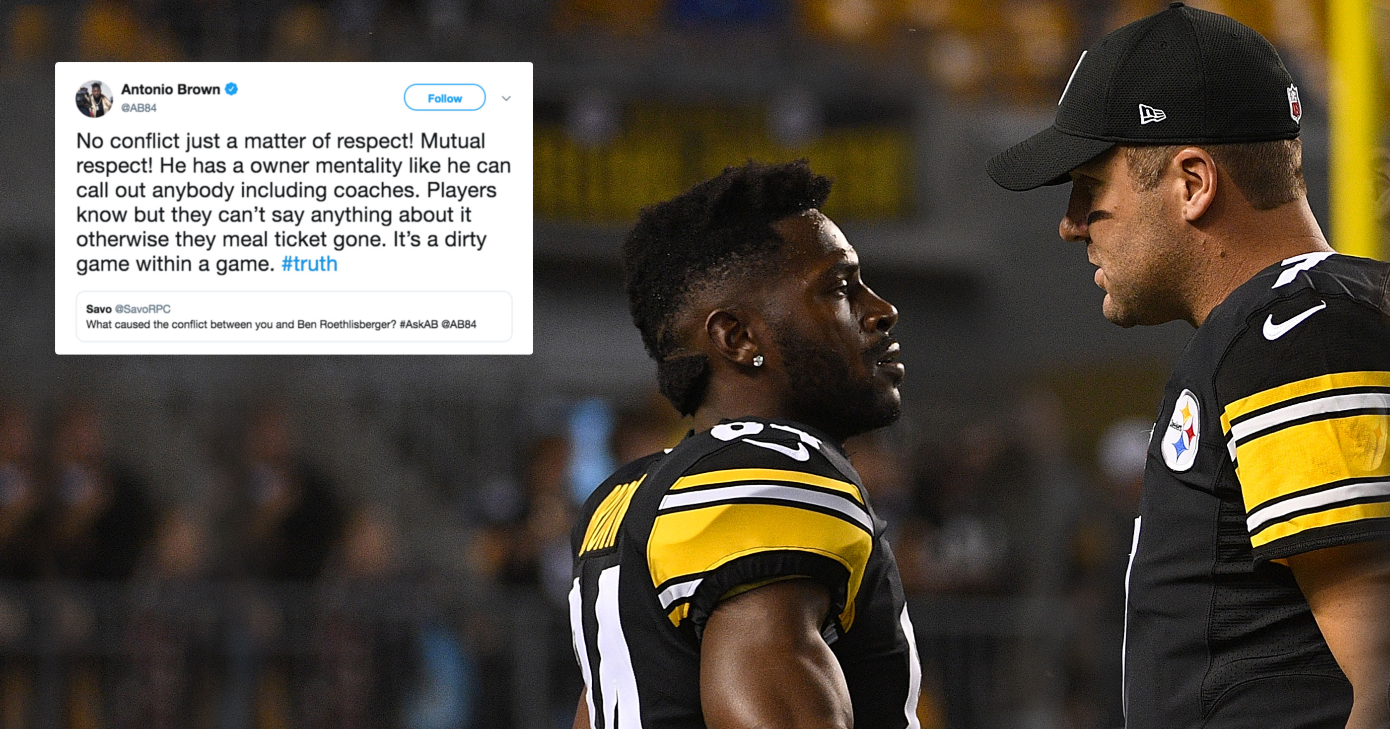 97daa1040 Antonio Brown Rips Ben Roethlisberger On Twitter During Q A Session With  Fans