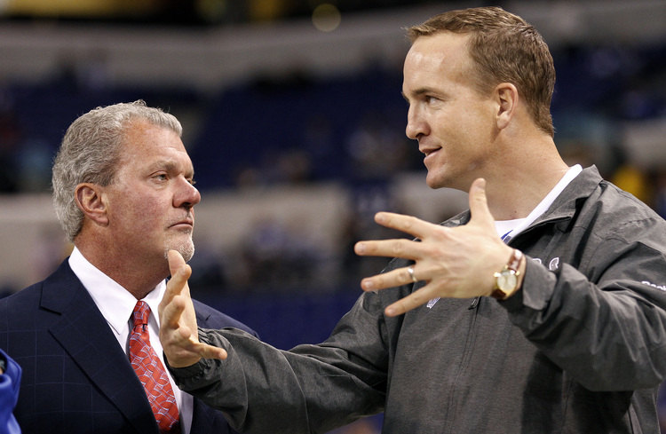 Indianapolis Colts quarterback Peyton Manning (18) talks with owner Jim Irsay before their game on Sunday, November 27, 2011, in Indianapolis, Indiana. The Panthers won the game 27-19. (Sam Riche/MCT) ORG XMIT: 1114696