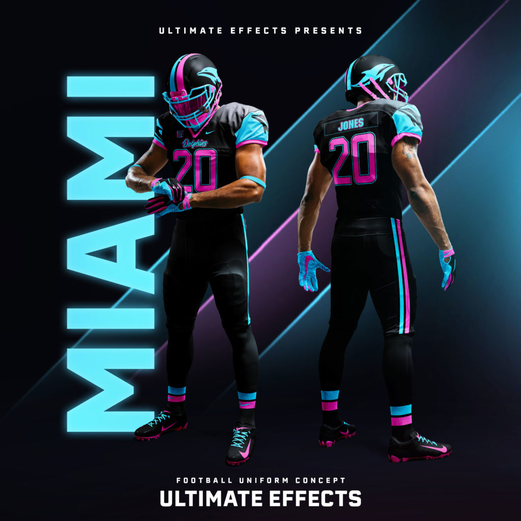 5a3e7a42ceb Ultimate Effects has graced us with the opportunity to see what exactly a  Miami Vice Miami Dolphins uni would look like, and it's amazing as you'd  expect.