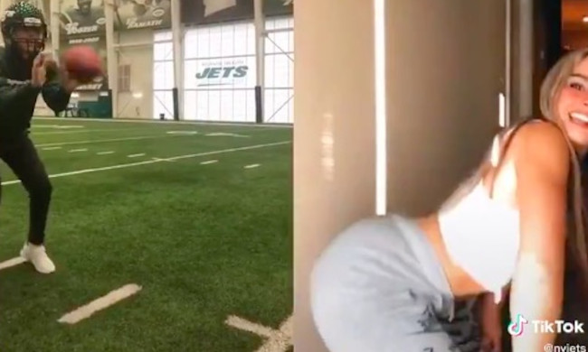 New York Jets Quickly Deleted This Bizarre Tik Tok Video Of Girl Hiking Football While Dancing